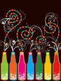 colorful retro pop new year bottles