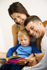 Family reading book.