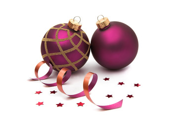 Two isolated christmas baubles decorations
