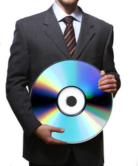 business man and cd