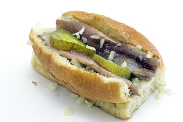 Sandwich with herring, onions and zure bom from Holland