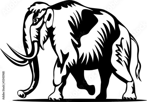 Woolly mammoth woodcut style