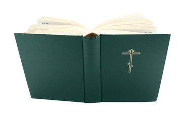 Opened bible book with clipping path, isolated