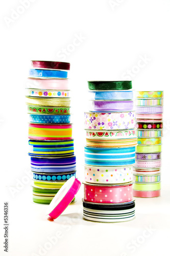 Stacks of ribbon on rolls