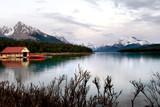 Boathouse on Maligne lake, Jasper national park poster