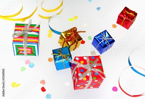 Colorful gifts with shining ribbons on white background t-shirt