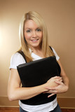 Female holding binders 2 poster