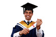 Young Indian graduation picture isolated with clipping path.