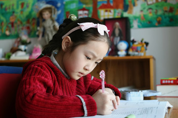 Cute Girl Doing Her Homework #001