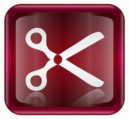 scissors icon, red, isolated on white background