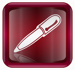 pen icon, red, isolated on white background