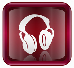 headphones icon, red, isolated on white background