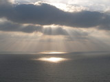 Sun on the sea at Rosh Hanikra in Israel poster