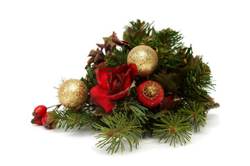 Colorful bulbs, spruce and other christmas decorations