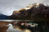 Boats on Minnewanka lake, Banff national park poster