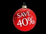 sign. save 40%. . Christmas sale poster