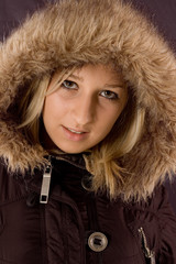 Portrait a young and beauty girl with hood