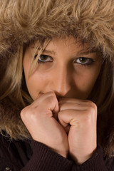 Portrait young girl wearning winter hood