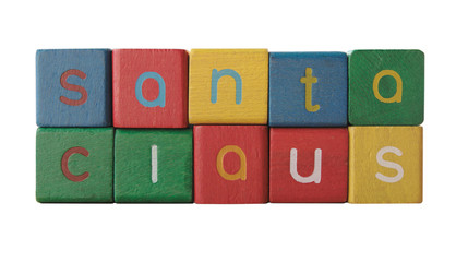 the words 'santa claus' in colorful children's block letters