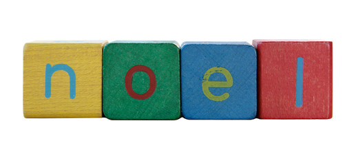 the word 'noel' in colorful children's block letters