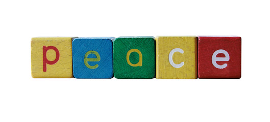 the word 'peace' in colorful children's block letters