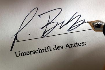 Unterschrift eines Arztes