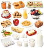 Fototapety image set of fresh food on white background