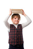young pupil with books isolated on white backgroung poster