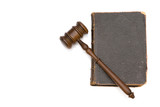 gavel and old book for legal concept  poster