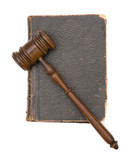 legal concept with wood gavel and old law book poster