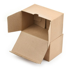 two cardboard boxes against white background,