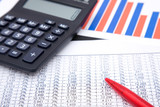 Finance information on business charts and tables, shallow dof poster
