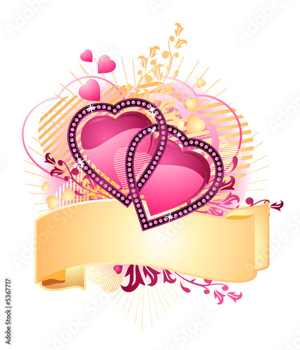 love hearts / with banner for your text / valentine /  vector