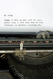 Retro typewriter with mundane blog