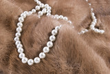 Strand of pearls lying on a luxurious mink fur.