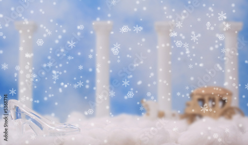 Glass Slipper on Clouds, Shallow DOF, Focus on Shoe