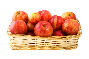 Basket of apples, isolated on a white background.