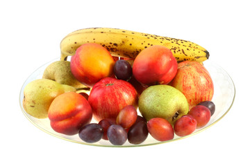 Bowl of fruit on a white background with clipping path.
