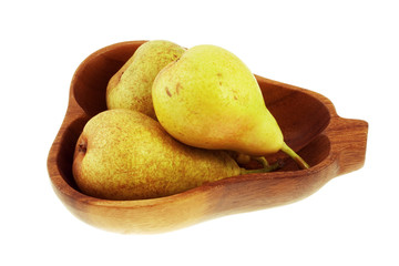 Bowl of pears on a white  background with clipping path.