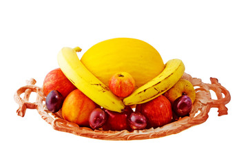 Bowl of fresh fruit, on a white background with clipping path.