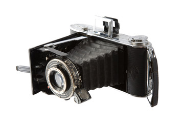 Antique camera, isolated on a white background.