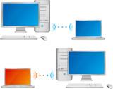Ordinateur de bureau et ordinateur portable en réseau poster