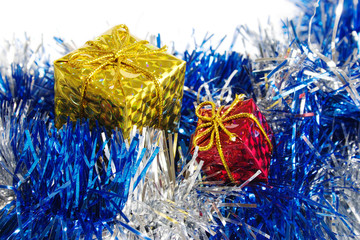 The packed gifts on blue decoration. Close-up view