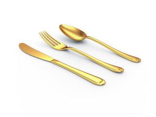 gold knife fork spoon with shadow