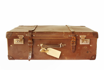 Vintage brown leather suitcase, isolated on white.