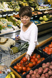 Woman grocery shopping. poster