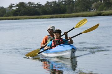 Couple kayaking.