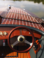 Steering wheel on boat.