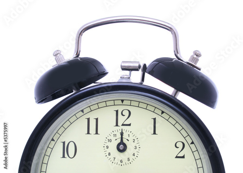 alarm clock close up shot on white background