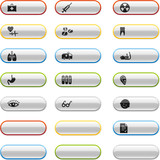 Glossy buttons with medicine icons poster